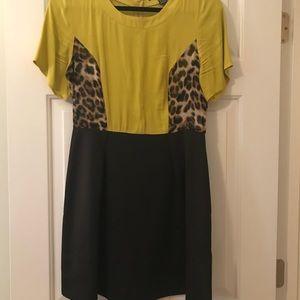 Forever 21 mustard & leopard dress